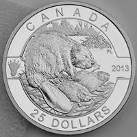 Canada 2013 $25 Beaver 1 Troy Oz. 99.99% Pure Silver Proof, O Canada Series #1