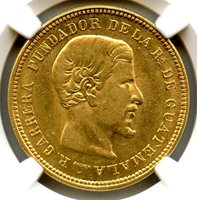Guatemala 1869; Gold 10 Pesos; Lustrous coin; Only 1 graded higher in MS-63; NGC graded MS-62
