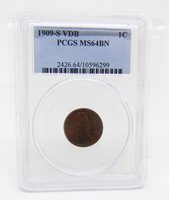 1909 S VDB US Mint Lincoln Head Wheat Penny 1 Cent Coin Certified PCGS MS64 BN