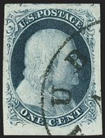 1c Blue, Ty. III, Position 99R2 (8). Three huge margins including part of adjoining stamp at top and sheet margin at bottom, mostly large at left (just clear of upper ornament), gorgeous dark shade and proof-like impression, neatly struck circular datestamp leaves the characteristics of this distinctive position clearly visible, small scissors-cut in margin at top leftEXTREMELY FINE APPEARANCE. A MAGNIFICENT EXAMPLE OF THE RARE 1851 ONE-CENT IMPERFORATE TYPE III FROM POSITION 99R2. THIS POSITION