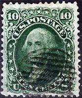 US Scott Number 68 10¢ Green, San Francisco grid cancel, Four large margins. Price $75 USD