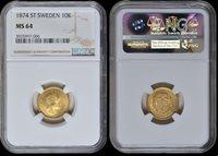 10 Kronor Sweden, Oscar Ii 1874 St gold Ngc Ms 64