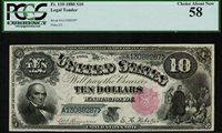 "1880 $10 Legal Tender FR-110 -""Jackass"" - Graded PCGS 58 - Choice About New"