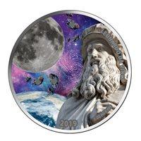Burkina Faso 2019 1000 Francs Da Vinci - 3 x Moon Meteorites 1oz Silver Coin