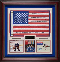 "1980 U.S. Olympic Hockey – ""Do You Believe In Miracles?"" Framed Autograph 40x41x2"