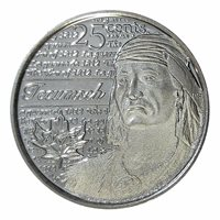 Canada quarter 25 cents coin, Heroes of 1812: Tecumseh, 2012