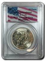 OUT OF STOCK - 1961 Silver 10 Pesos 9-11-01 PCGS Gem Uncirculated WTC Ground Zero Recovery