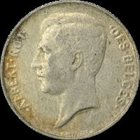 1913 BELGIUM SILVER 1 FRANC, Albert I (French text), FINE
