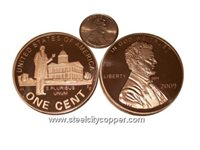 Jumbo Lincoln Bicentennial 2009 Copper Round - Professional * .999 Fine Copper Bullion Coin.* 1 Troy Ounce.* Large Lincoln Bicentennial Replica.* Image of Lincoln as a Young Professional on Reverse.* No artificial coatings.(+)Zoom