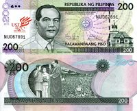 """Philippines 200 Piso Pick #: 214 2011 UNCOther Commemorative Note - 400th Anniversary Purple/Green Diosdado Macapagal; Aguinaldo shrine; Swearing in of Gloria Macapagal-ArroyoNote 6"""" x 2 3/4"""" Asia and the Middle East Diosdado Macapagal"""