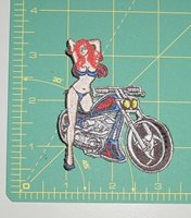 Embroidered Patch - Motorcycle with Scantily Clad Girl Standing