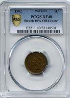 1902 Indian Cent 10% Off-Center PCGS XF-40 Struck 10% off-center. Error Coins