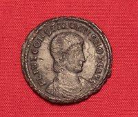 Ancient Roman Constantinus Silvered Bronze Centenionalis Coin