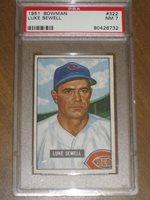1951 Bowman #322 Luke Sewell - Reds PSA 7