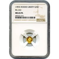 1853 (c. No Date) California Gold Rush Circulating Fractional Gold 25C, BG-222 Liberty Round NGC MS65 Prooflike R2