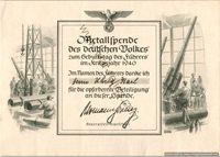 SMGL-2540 Metal Donation Certificate 1940 Karl Uhrig