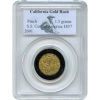 Gold Pinch - 1857 California Gold Rush 1.5 gram PCGS Ex.SS Central America (1st recovery)