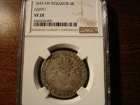 1843 MV Ecuador 4 Reales NGC VF20