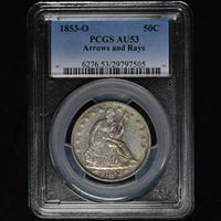 1853-O 50C ARROWS AND RAYS SEATED LIBERTY SILVER HALF DOLLAR PCGS AU53