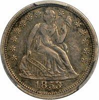 $0.10 1853 No Arrows NA Seated Liberty Dime 10c - PCGS XF40