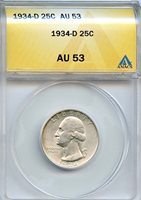 1934 D 25c ANACS AU 53 (ALMOST, ABOUT UNCIRCULATED) WASHINGTON SILVER QUARTER