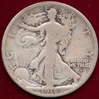 1916-D WALKING LIB. 50c VG