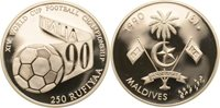 250 Rufiyaa Malediven football mit Schriftband, football-wm 1990 in Italy Silver