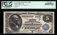 $5 1882 VB The First National Bank of Los Angeles TOUGH VALUE BACK 4 CALIFORNIA