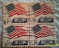 1963 U. S. Scott 1208 Flag and White House four used and cancelled 5 cent stamps