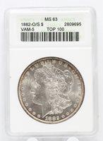 1882-O/S Morgan Silver Dollar VAM-5 ANACS MS 63 Certified Top 100