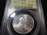 Y70 Switzerland 1933-B 5 Francs PCGS MS-62 OGH