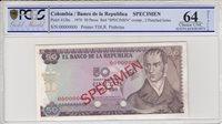 50 Pesos de Oro Kolumbien 50 Pesos oro, Camillo Torres Orchids 1970 Specimen Pcgs 64