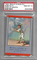 1953 Brown & Bigelow PSA 10 Babe Ruth King of Hearts Ad Migliores Esso