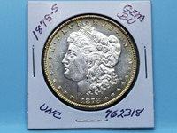 1878-S $ MORGAN SILVER DOLLAR GEM BU FROSTY WHITE TONED RIM #762318-67DD