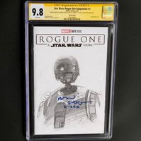 STAR WARS: ROGUE ONE #1  1-OF-A-KIND SKETCH & 2X SIGNED CGC 9.8 SS  K-2S0