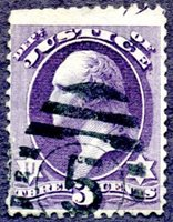 #O27, 3¢ Justice, canceled by a VF+ strike of New York City 9-bar numeral 5 ellipse killer. Examples of this style of NYC killer (used 1876-84) on Justice Department are very scarce. Stamp with corner crease at lower left, trimmed perfs at top.