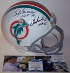 Bob Griese / Dan Marino - Autographed Official Full Size Riddell Authentic Proline Football Helmet - Miami Dolphins Throwback - BAS Beckett Authentication
