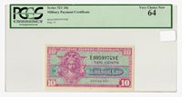 Series 521 MPC 10¢ U.S. Military Payment Certificate – Very Choice New PCGS 64