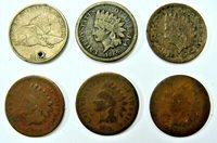 1857 1860 1864 1865 1873 & 1875 BETTER DATE INDIAN HEAD CENTS! FREE SHIPPING
