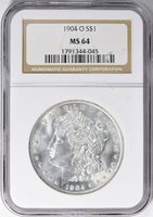 1904-O MORGAN SILVER DOLLAR - NGC MS 64 - BEAUTIFUL COIN, DEEP RICH LUSTER