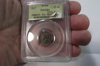 1827 GREAT BRITAIN 1/3 FARTHING, COPPER, PCGS, MS63