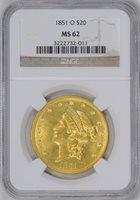 1851-O LIBERTY HEAD $20 MS62