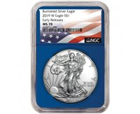 2019-W Burnished $1 American Silver Eagle PCGS SP70 FS Flag Label Red Frame