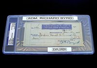 Autograph 1933 Admiral Richard Byrd PSA/DNA Check Signed Dated June 13 DS 22 VTG