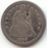 1856-O Seated Liberty Dime, Recut Date, VF