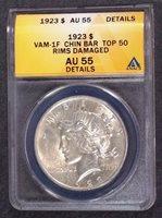 1923 Peace Silver Dollar VAM 1F Chin Bar ANACS AU55 Top 100 I-2 R-3 Details