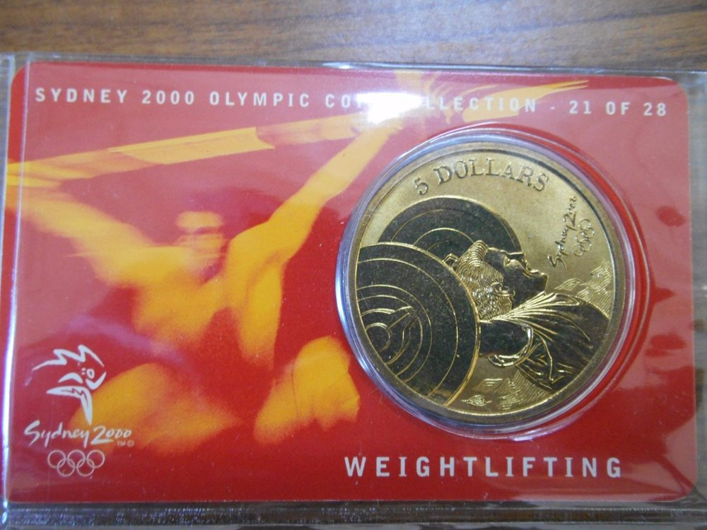 """2000 Aust  Sydney Olympic $5 Coin /"""" TABLE TENNIS /"""" # 23 of 28 No Outer Sleeve"""