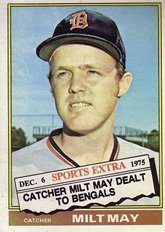 1976 Topps Traded Baseball Card 36 532t Milt May Of The Detroit Tigers Exmt Condition