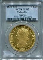 1826 FM Colombia 8 Escudos Popayan Gold Coin PCGS MS62