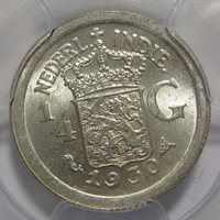 1930 Netherlands East Indies 1/4 Gulden.Silver Coin. PCGS MS63+